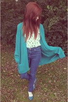 teal oversized thrift cardigan - navy high waisted BDG jeans