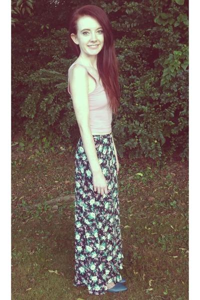 navy Ralph Lauren skirt - light pink crop tank BDG top - teal Forever 21 flats