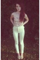 light pink BDG top - ivory American Apparel jeans