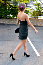 dark green barneys ny dress - black Chanel bag - black 31 Phillip Lim pumps