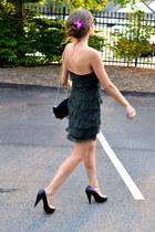 dark green barneys ny dress - black Chanel bag - black 31 Phillip Lim pumps
