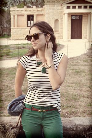 green Gap jeans - striped H&M shirt - tortoise shell Karen Walker sunglasses