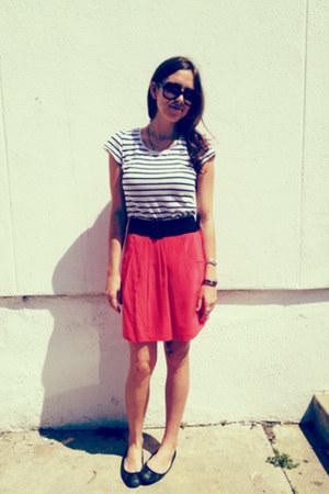 black stud zar flats - carrot orange BCBG skirt - white H&M t-shirt
