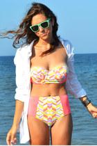 salmon neon zinke swimwear - white H&M shirt - aquamarine Knockaround sunglasses
