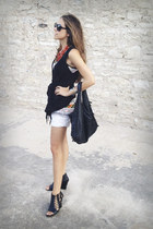 black woven vintage bag - white vintage shorts - black People Like Frank vest