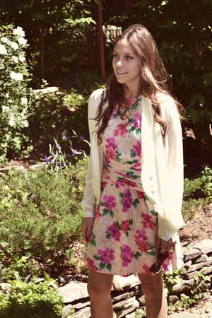 hot pink floral vintage dress - ivory silk haute hippie blouse