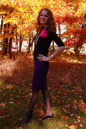 black BP Nordstrom cardigan - purple united colors of benetton skirt - black NY&