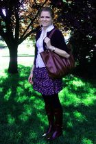 black Nordstrom cardigan - white Ann Taylor Loft blouse - blue Forever 21 skirt