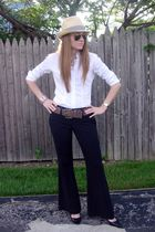 beige Banyan Tree hat - white NYC & Co blouse - black The Limited pants - black