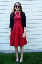 red Isaac Mizrahi for Target dress - black Nordstrom cardigan - black Nine West
