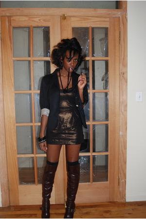 black Zara blazer - brown French Connection dress - brown Bebe boots