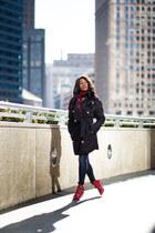 H&M coat - Shoedazzle boots - H&M jeans - Express scarf