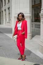 red asos cape - red asos pants - white Charlotte Russe top