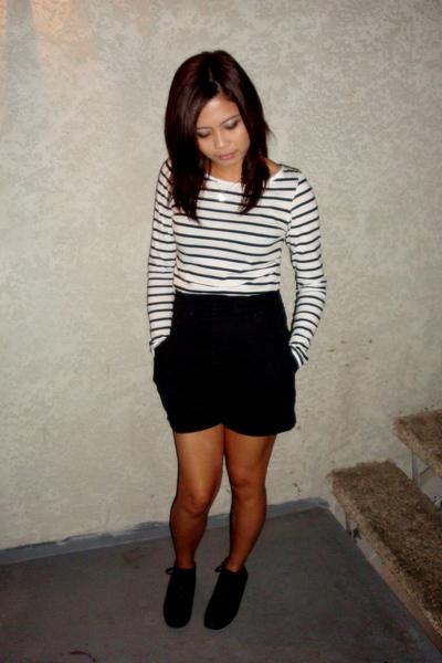 white H&M top - black UO shoes - black Random thrift store shorts