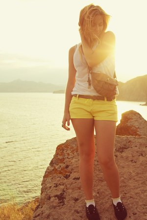 light yellow Zara shorts - crimson handmade necklace