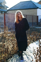 black Geox boots - black Zara dress - no brand coat
