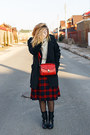 Black-no-brand-coat-silver-zara-sweater-ruby-red-aldo-scarf