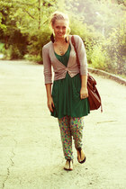 brick red Zara bag - chartreuse Zara pants - black Aldo shoes - green Promod dre