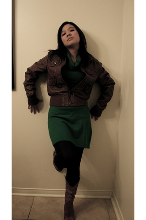 Aldo boots - H&M dress - Forever 21 tights - Urban Behaviour jacket