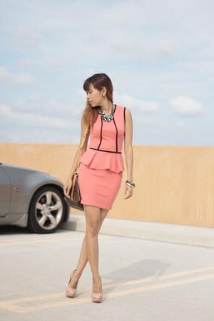 Macys dress - Louis Vuitton bag - Vince Camuto pumps - Bebe accessories