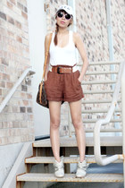 white Forever 21 top - Louis Vuitton bag - burnt orange Forever 21 shorts