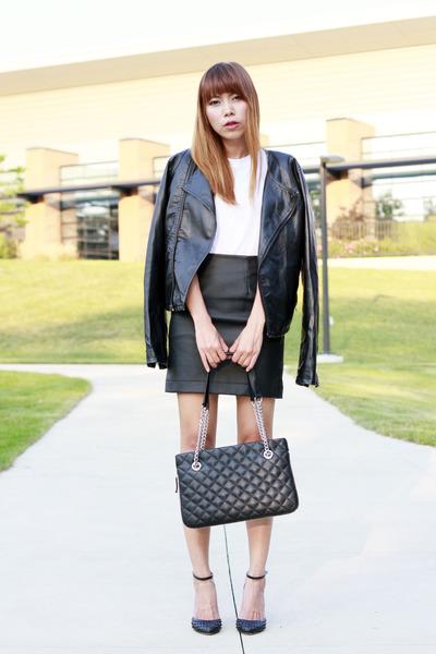 Hanes t-shirt - Wilson jacket - calvin klein bag - H&M skirt - Zara heels