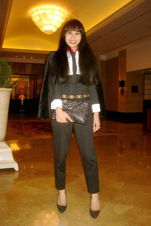 black Zara blazer - black studded Zara purse - black Randy Ortiz top