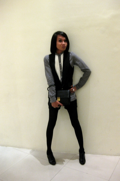 Zara blouse - vest - purse - shorts - stockings - Nine West shirt