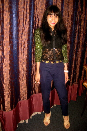 lace blouse - sequined jacket - Forever 21 wedges - Forever 21 accessories