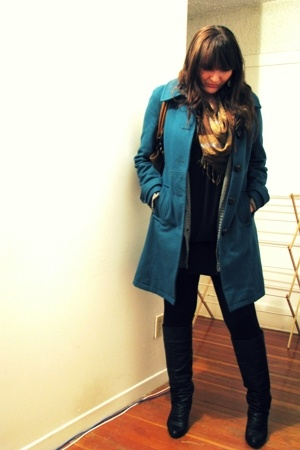 Marciano coat - le chateau scarf - H&M sweater - Costa Blanca dress - Spring boo