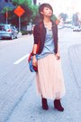 Black-korea-shoes-ivory-korea-skirt-black-friends-jacket-ruby-red-bangkok-