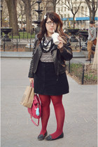 black faux leather Target jacket - red Target tights