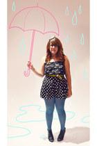 black Target shorts - black Target top - blue Target stockings