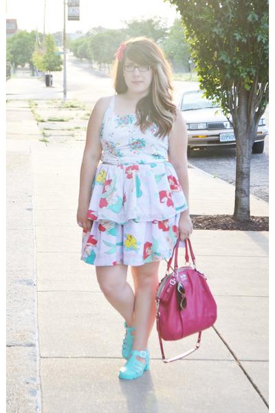 hot pink coach bag - aquamarine American Apparel sandals
