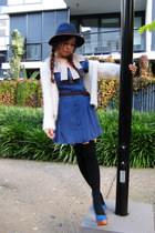 navy dress - navy Sportsgirl hat - black asos tights - cream cardigan