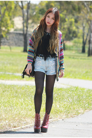 fringe Love top - denim MinkPink shorts - amethyst knit romwe cardigan