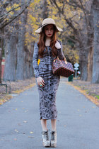 neutral python lita Jeffrey Campbell boots - gray H&M dress - beige bardot hat -