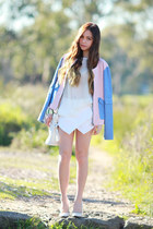 Bomber jacket - quilted Choies bag - white skort skirt