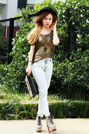 Monki top - camel Jeffrey Campbell boots - H&M jeans - black Bershka bag