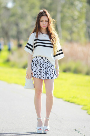 white leather EMODA shoes - geometric Choies shorts - stripe Choies top
