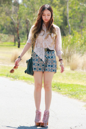 teal floral MIKA & GALA shorts - pink shoes Jeffrey Campbell boots