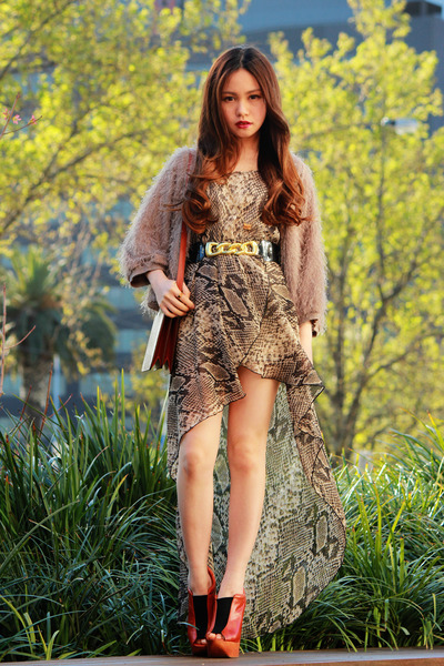 tawny future Jeffrey Campbell shoes - light brown Love dress - tan Fringe jacket