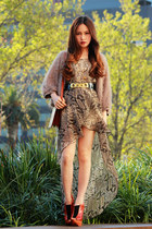 tan Fringe jacket - tawny future Jeffrey Campbell shoes - light brown Love dress