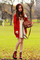 dark brown leather Bonia bag - brick red tardy platform Jeffrey Campbell boots