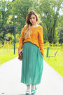 Turquoise-blue-no-brand-skirt-mustard-roxy-sweater-brown-vintage-bag
