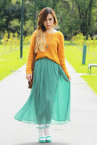 turquoise blue no brand skirt - mustard Roxy sweater - brown vintage bag