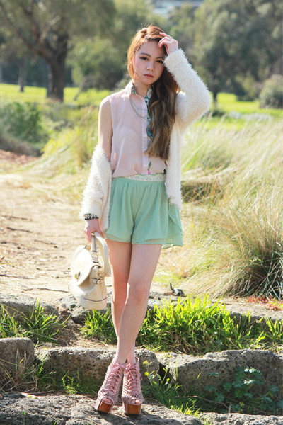 floral romwe top - romwe bag - mint romwe shorts - Jeffrey Campbell heels