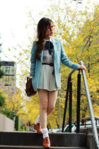 sky blue blazer - tawny shoes - dark brown leather bag - neutral lace shorts