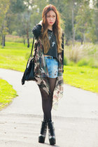 light brown camouflage romwe cardigan - spikes cross Jeffrey Campbell boots