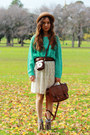 Turquoise-blue-knitted-sweater-dark-brown-leather-bonia-bag-frill-socks-be